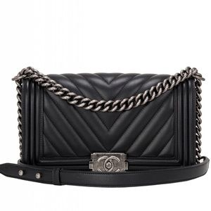 CHANEL BLACK CHEVRON QUILTED BOY BAG NEW MEDIUM
